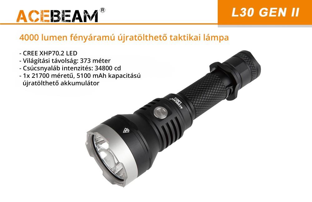 AceBeam L30 vadász elemlámpa