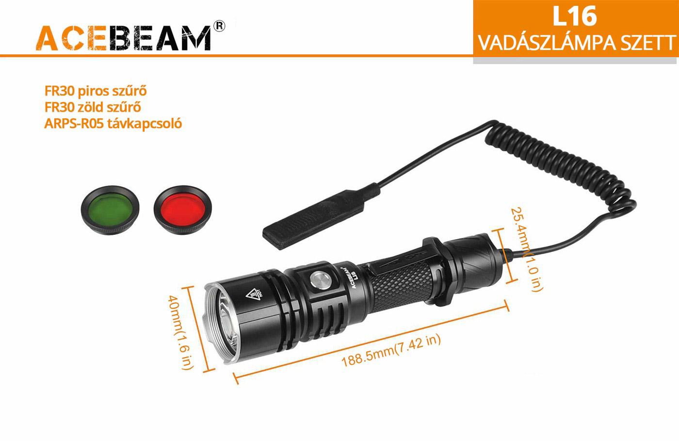 AceBeam L16 vadász elemlámpa kit